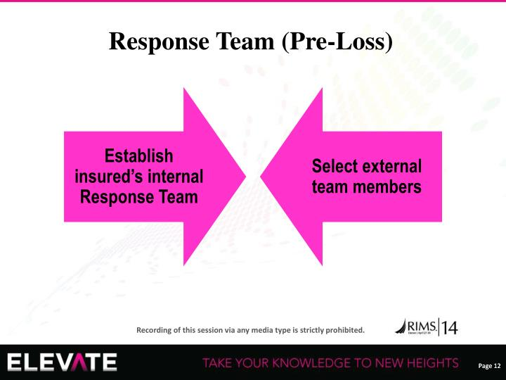 Establish insured's internal Response Team