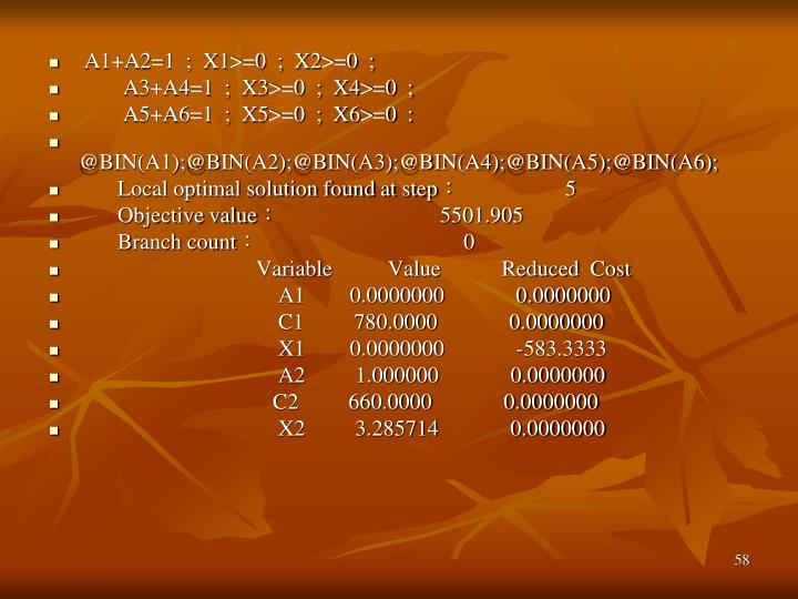 A1+A2=1  ;  X1>=0  ;  X2>=0  ;