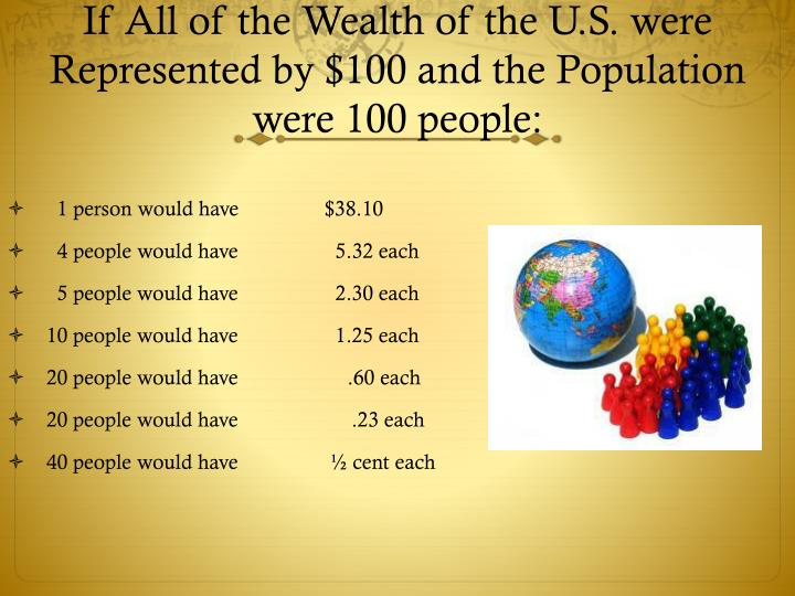 If All of the Wealth of the U.S. were Represented by $100 and the Population were 100 people: