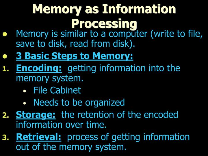 Memory as Information Processing
