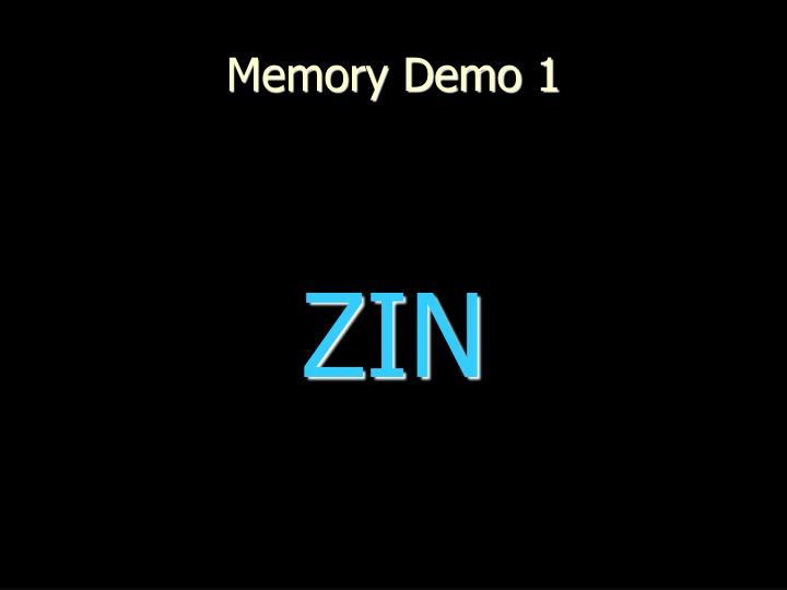Memory Demo 1