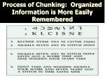 process of chunking organized information is more easily remembered
