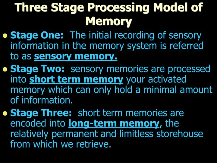 Three Stage Processing Model of Memory