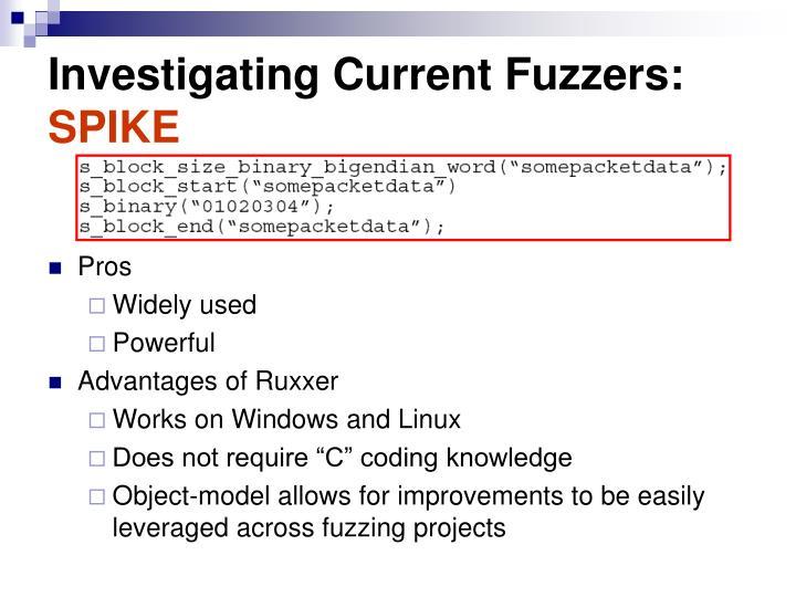 Investigating Current Fuzzers: