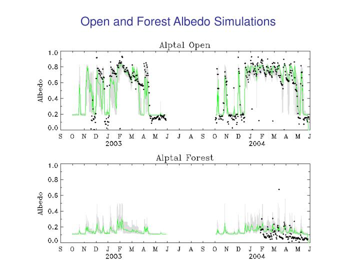 Open and Forest Albedo Simulations
