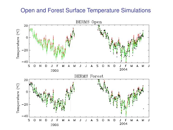 Open and Forest Surface Temperature Simulations