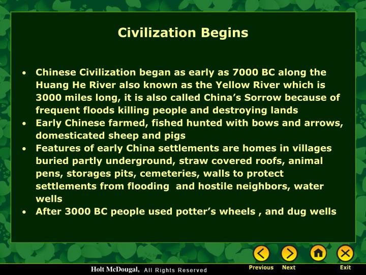 Civilization Begins