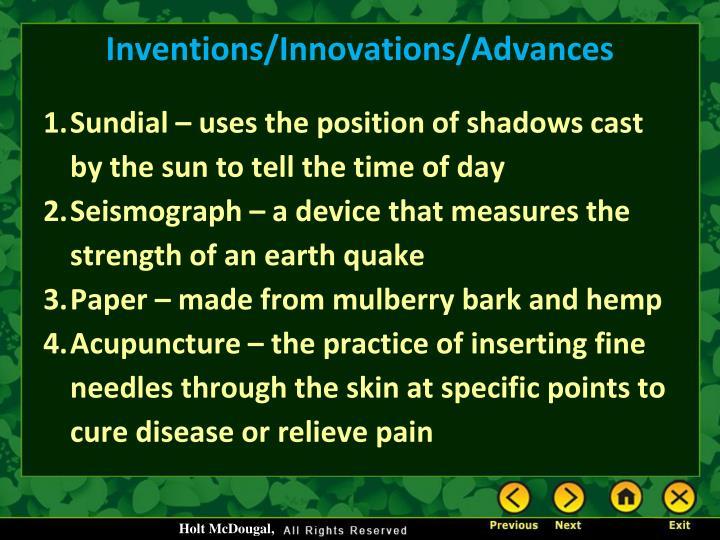 Inventions/Innovations/Advances