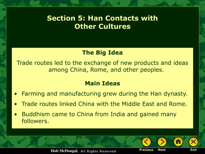 Section 5: Han Contacts with