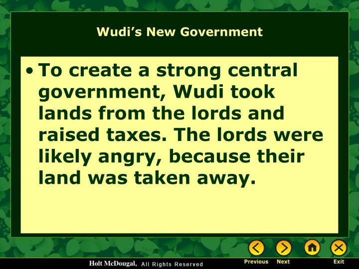 Wudi's New Government