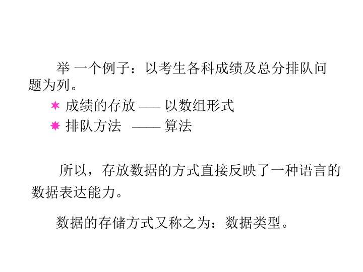 举 一个例子:以考生各科成绩及总分排队问题为列。