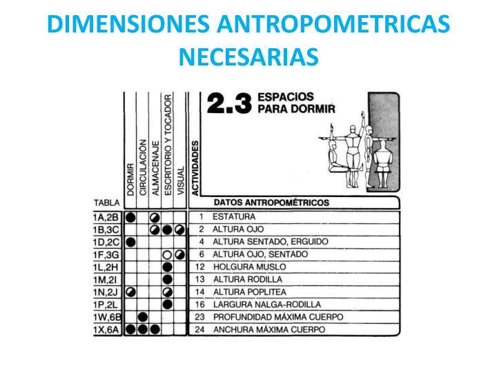 DIMENSIONES ANTROPOMETRICAS NECESARIAS