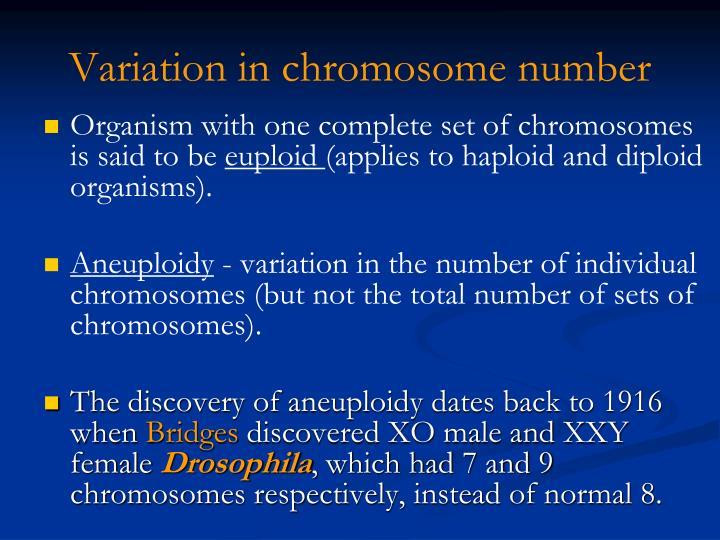 Variation in chromosome number