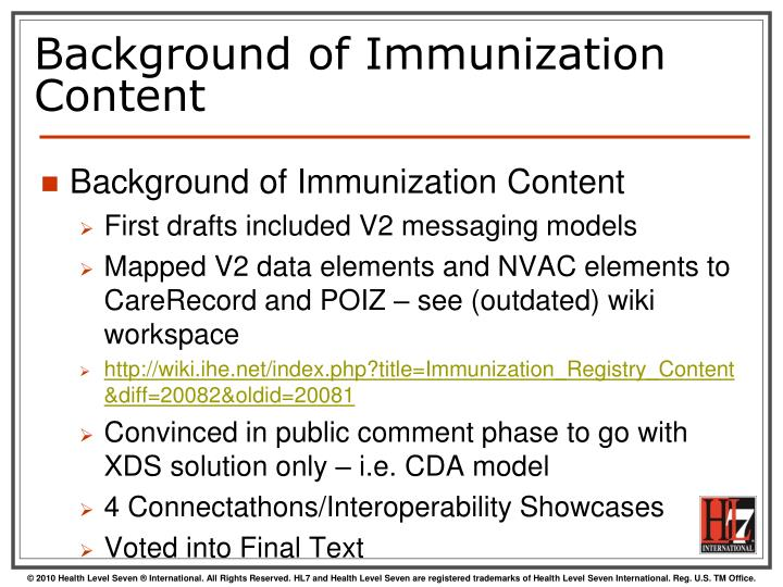 Background of Immunization Content