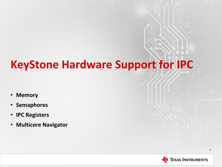 Keystone hardware support for ipc