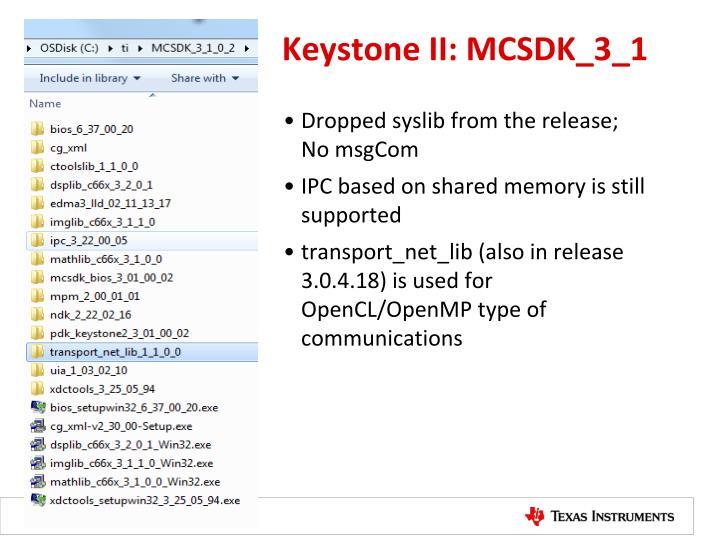 Keystone II: MCSDK_3_1