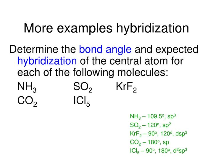 More examples hybridization