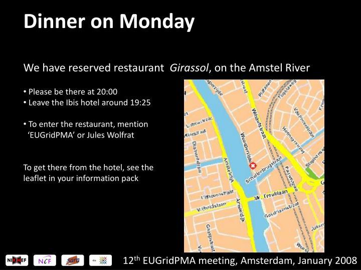 Dinner on Monday