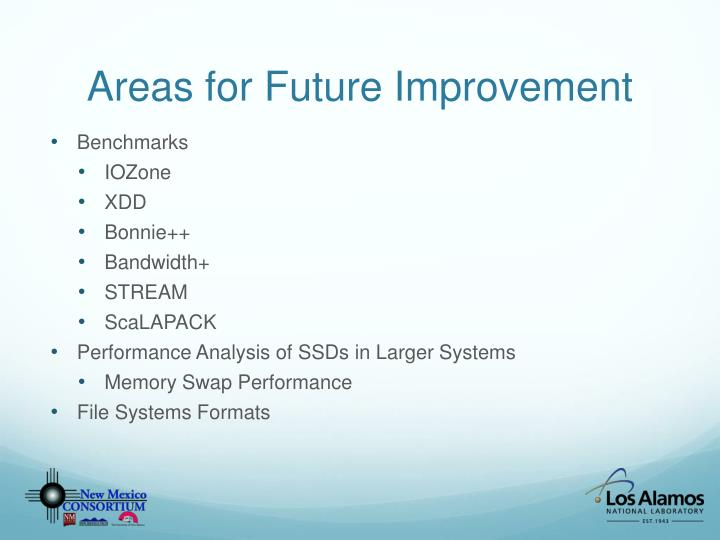 Areas for Future Improvement