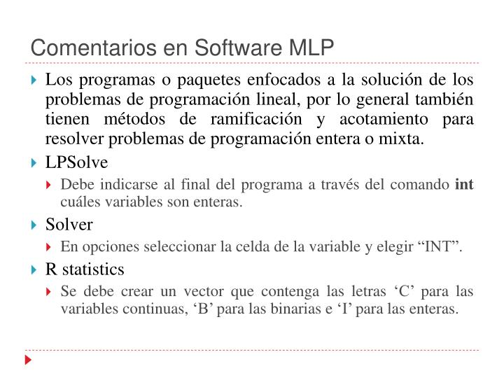 Comentarios en Software MLP