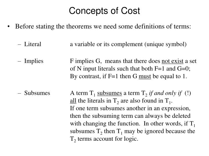 Concepts of Cost