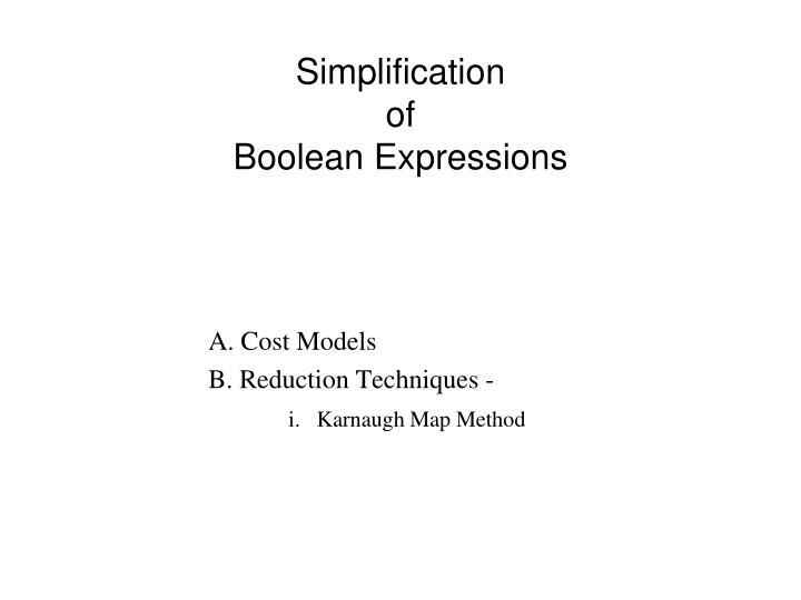 Simplification of boolean expressions