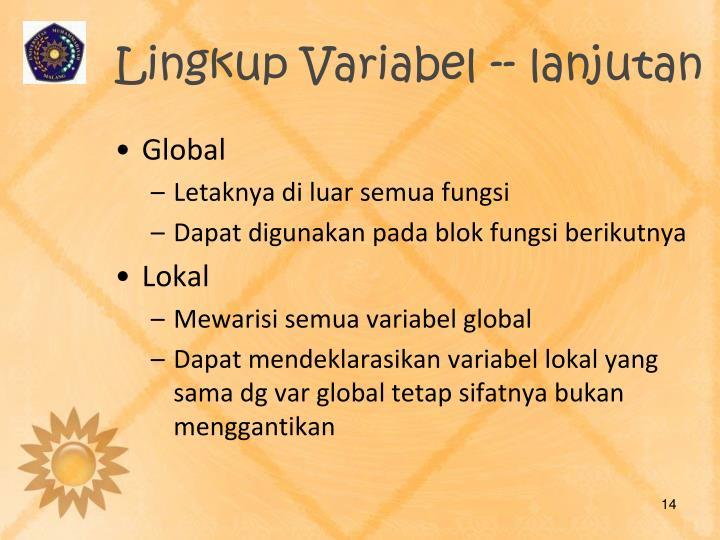 Lingkup Variabel -- lanjutan