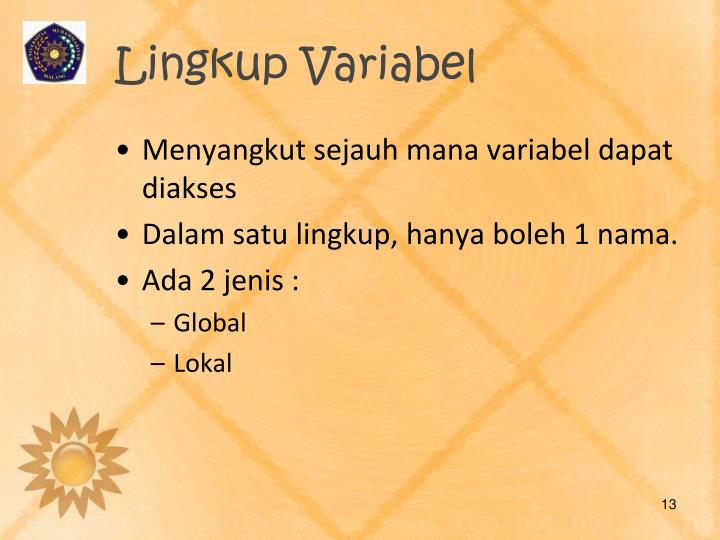 Lingkup Variabel
