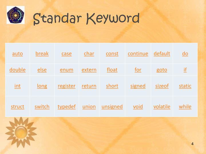 Standar Keyword
