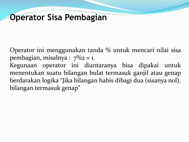 Operator Sisa Pembagian