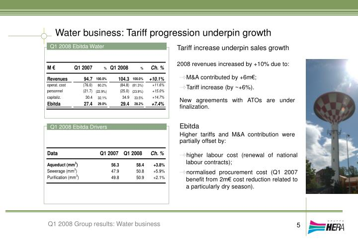 Water business: Tariff progression underpin growth