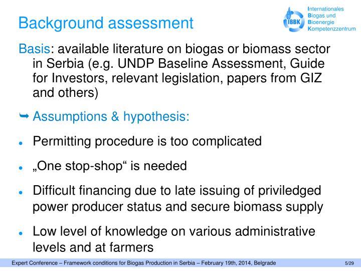 Background assessment