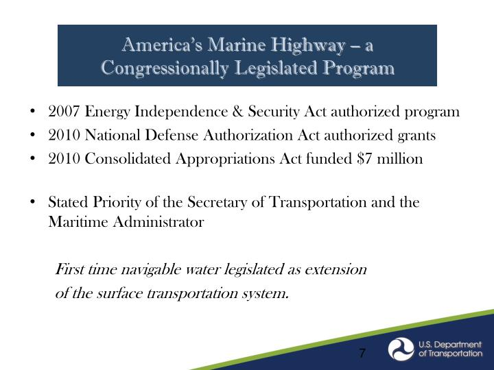 America's Marine Highway – a Congressionally Legislated Program