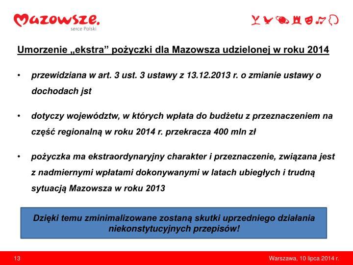 """Umorzenie """"ekstra"""" pożyczki dla Mazowsza udzielonej w roku 2014"""