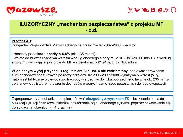 """ILUZORYCZNY """"mechanizm bezpieczeństwa"""" z projektu MF"""