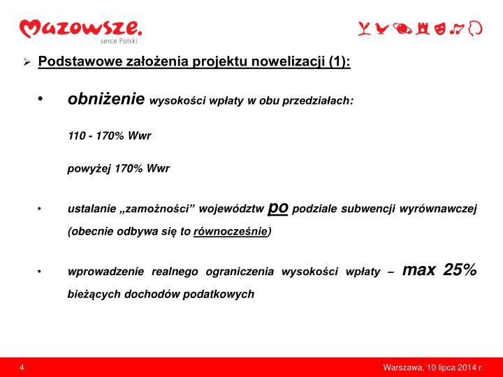 Podstawowe założenia projektu nowelizacji (1):