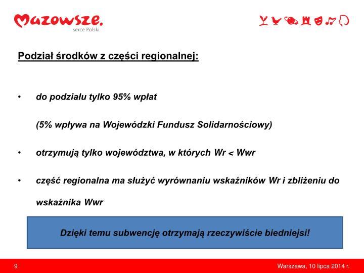 Podział środków z części regionalnej: