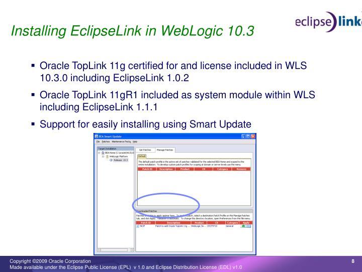 Installing EclipseLink in WebLogic 10.3