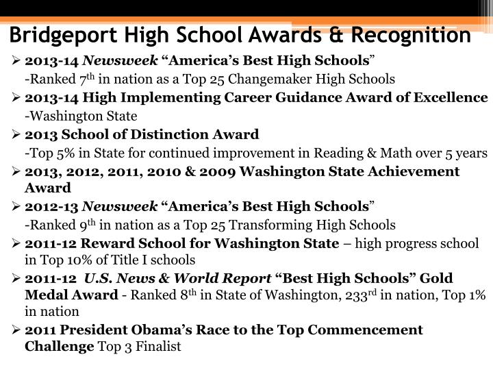 Bridgeport High School Awards & Recognition