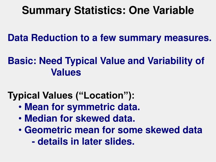 Summary Statistics: One Variable