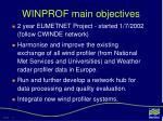 winprof main objectives