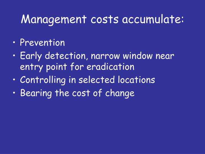 Management costs accumulate: