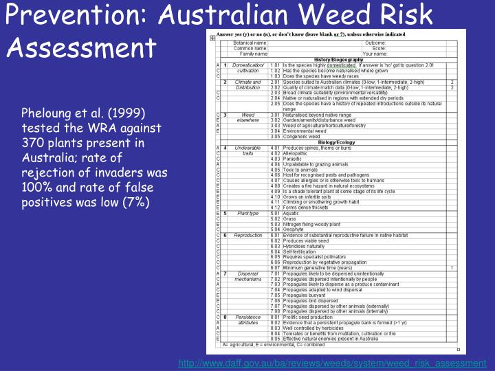 Prevention: Australian Weed Risk Assessment