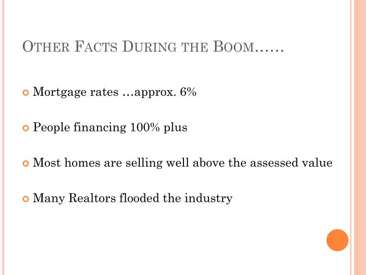 Other Facts During the Boom……