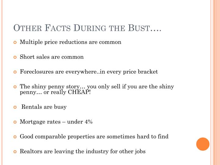 Other Facts During the Bust….