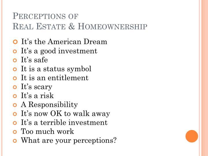 Perceptions of