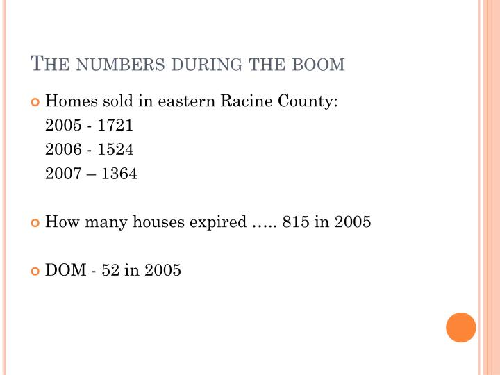The numbers during the boom