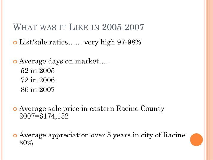 What was it Like in 2005-2007