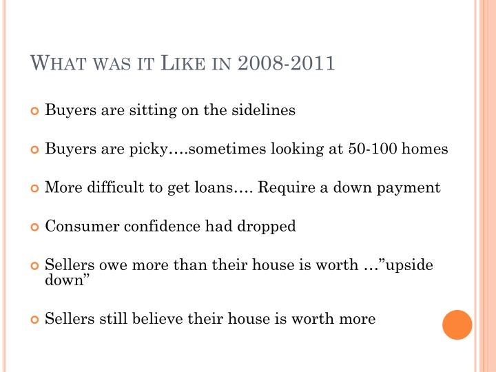 What was it Like in 2008-2011