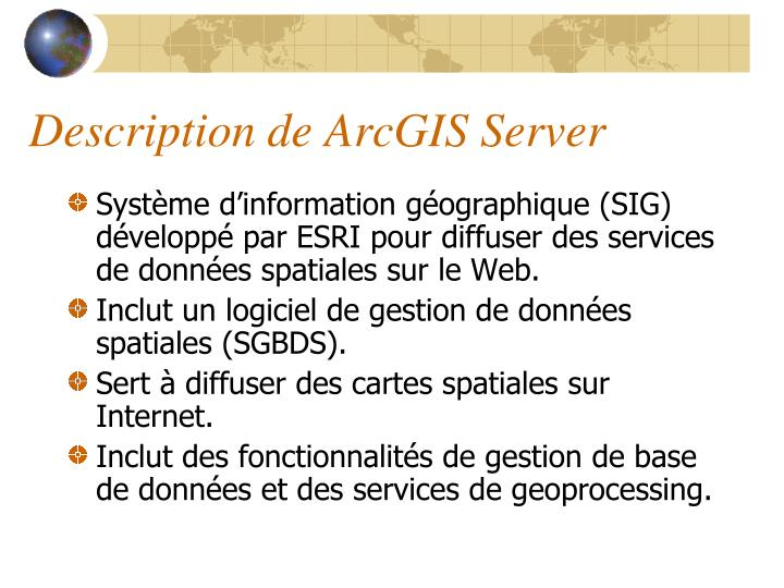 Description de ArcGIS Server